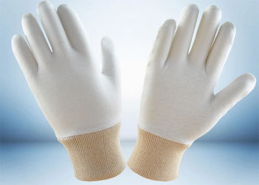 Bleached White Cotton Work Gloves 100% Soft Reflective Stripes 24cm Glove Length